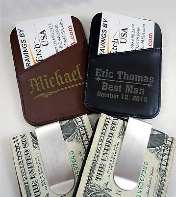 Personalized Leather Money Clips Custom Engraved Valentines Day Gifts for Him (Custom Money Clips)
