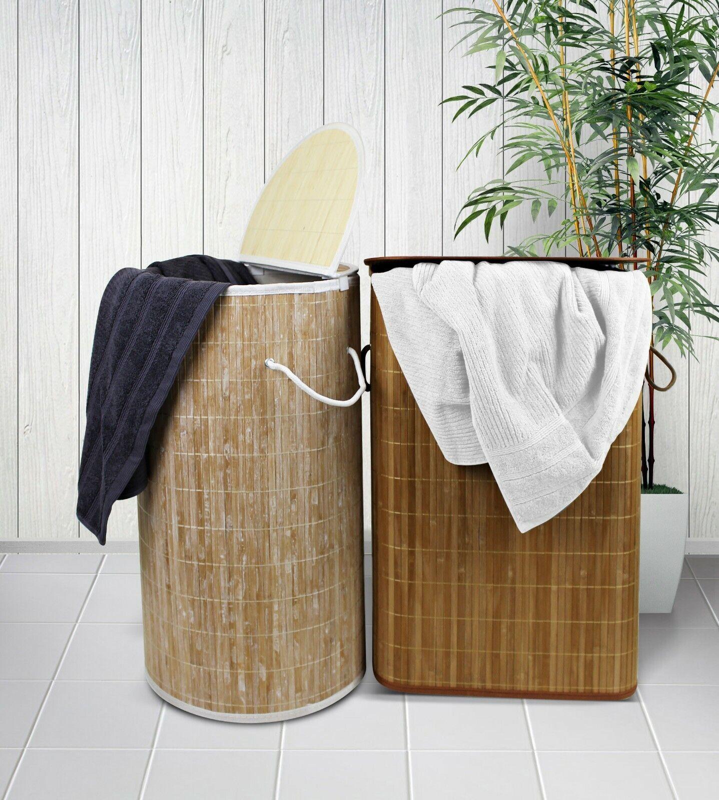 washed bamboo bobo style rectangle laundry basket