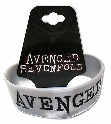 AVENGED SEVENFOLD -  BLACK ON GREY LOGO SILICONE WRISTBAND NEW NWT