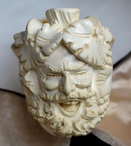 Never Smoked Vintage Genuine Block Meerschaum Carved Tobacco Pipe