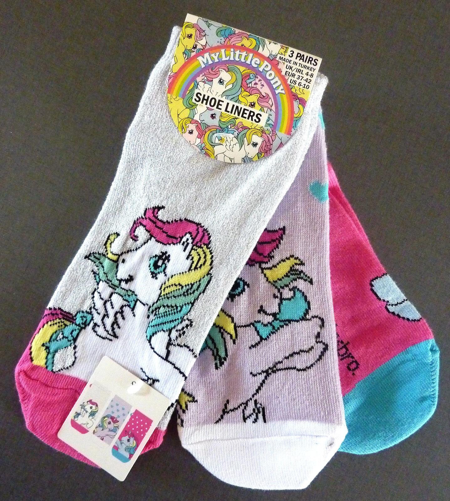 3 Paar My Little Pony Damen Sneaker Socken Einhorn 37-38-39-40-41-42 Primark Neu