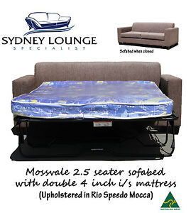Brand New Aus Made Mossvale (Mocca) 2.5 seater with Double 4 inch i/s Sofabed
