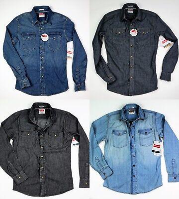 New Wrangler Long Sleeve Denim Shirt Four Colors Slim Fit Men's Sizes -