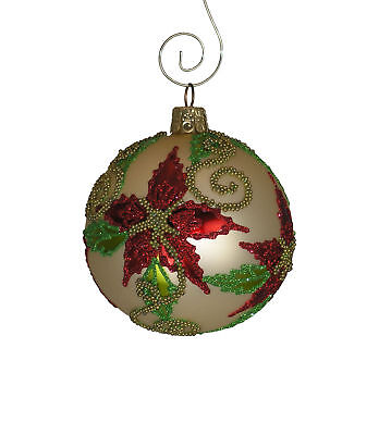 Beaded Poinsettia Blown Glass Ball Ornament - Single or 6 Pack