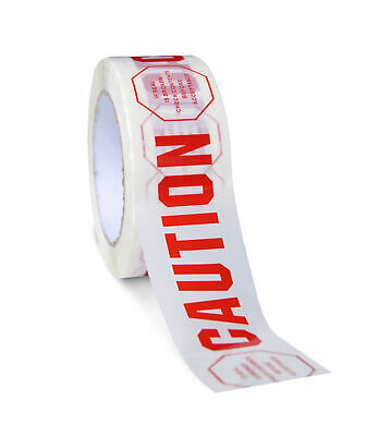 Acrylic Adhesive Printed Tape With Warning Signs 2 X 110 Yds 2 Mil 72 Rolls