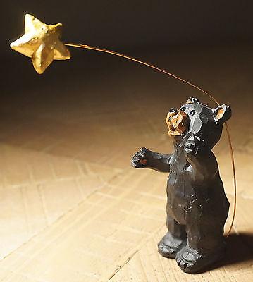 BLACK BEAR CUB CATCH A FALLING STAR & MAKE A WISH Lodge Cabin Figurine Decor NEW