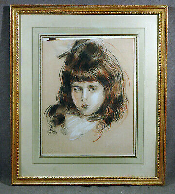 French Beautiful Young Girl Charcoal on Paper Paul César Helleu