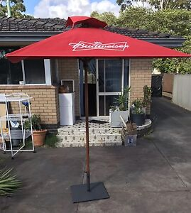 Umbrellas branded Budweiser and Somerset Northbridge Perth City Area Preview