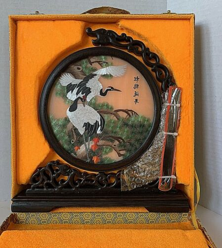 Chinese Double Side Suzhou Cranes Embroidery Silk Panel, New in Box