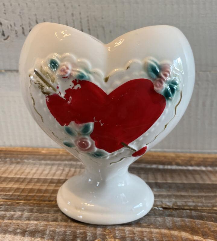 "Vintage RB Valentine Heart Shaped Planter Vase Made in Japan 5"" Tall"