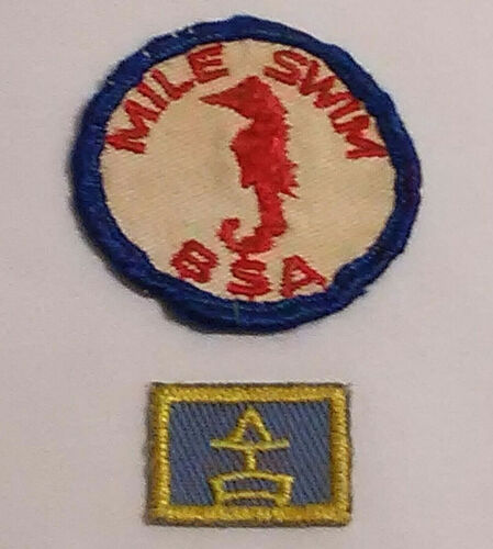Vintage 1967-1972 BSA Boy Scout Emb. Patches Mile Swim & San Diego Camp Mataguay