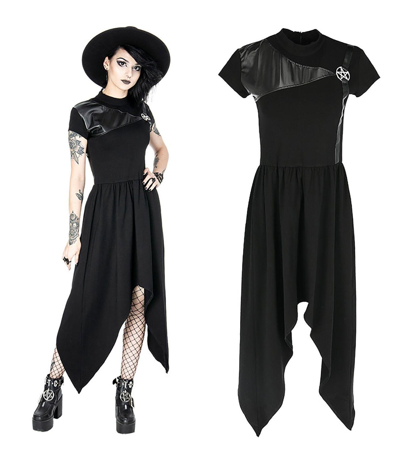 Restyle Tunika Kleid Gothic Witchy Dress Nugoth Pentagramm asymetrisch Vintage
