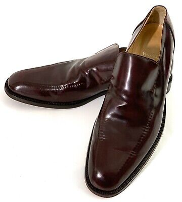 Versace Vintage Men's Leather Loafers Burgundy Size 44 (11 USA) Genuine