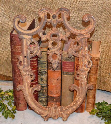 Antique Rustic Cast Iron Architectural Fragment Pediment Plaque