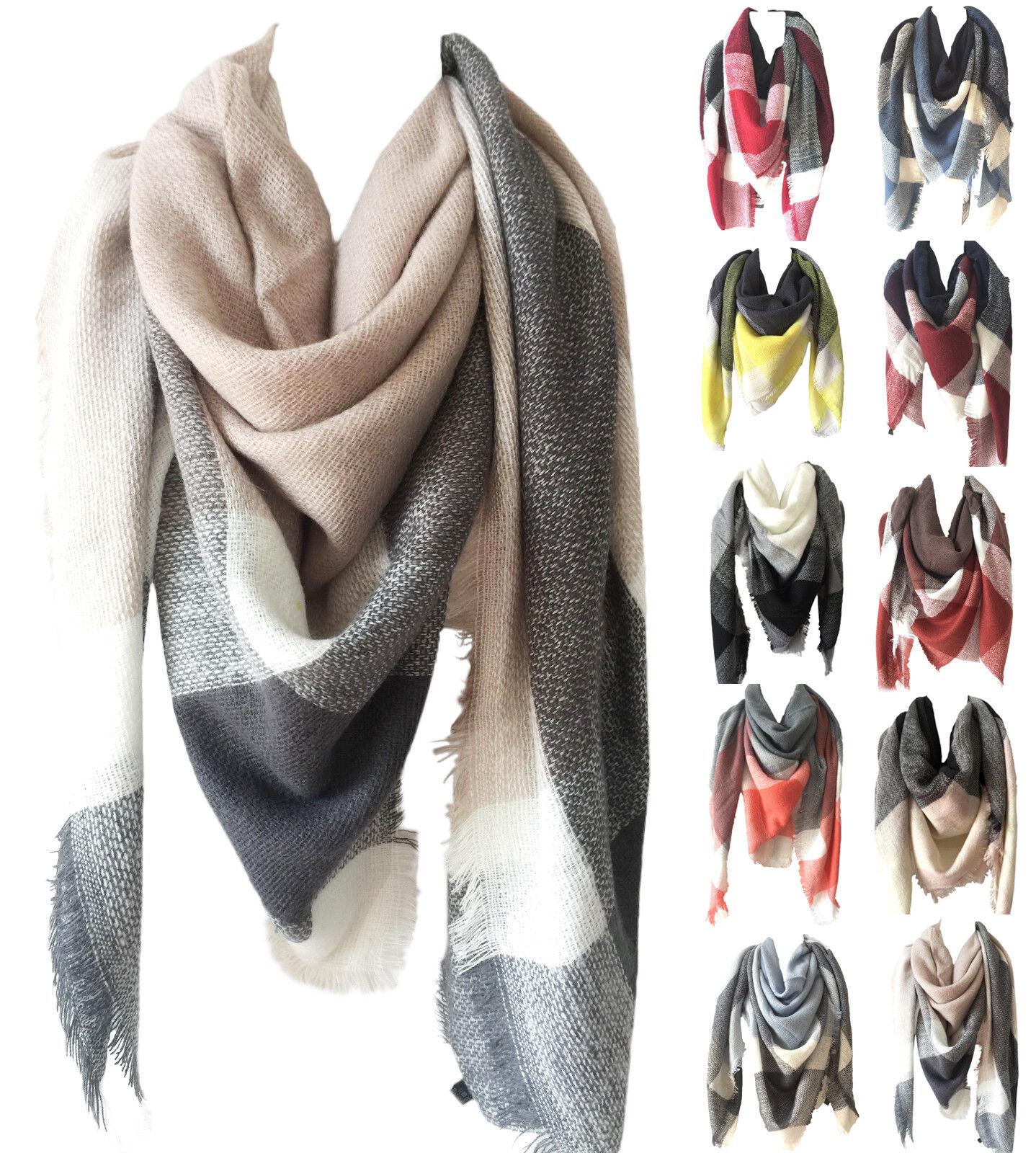 Scarf - Womens Oversized Tartan Plaid Blanket Scarf Large Checked Wrap Shawl Winter CHIC