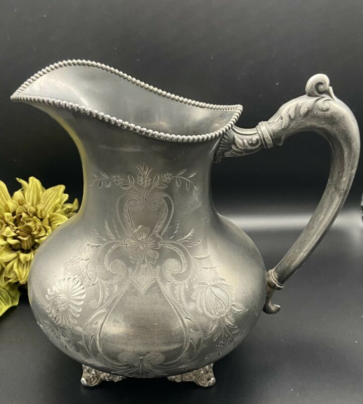 Antique 1860's Rogers Bros. Quadruple Silverplate Footed Water Pitcher #442