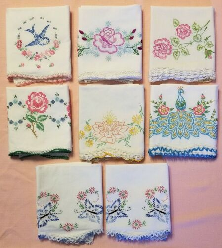 Lot of 8 Vintage Hand Embroidered Pillowcases with Crochet Edgings