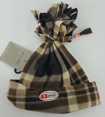 Beaded Lightweight Hat (FLANNEL ADULT WINTER HAT PLAID BROWN TAN WARM LIGHT WEIGHT POM WITH BEADS )