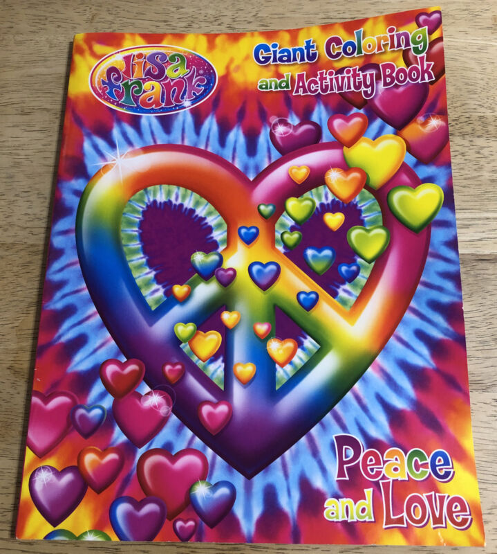 LISA FRANK - 2013 Giant Coloring & Activity Book - Hearts - Peace & Love