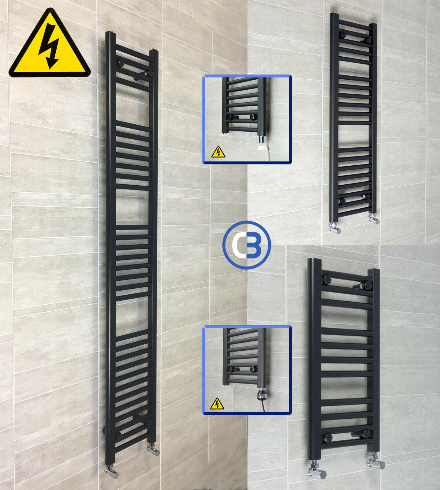 300mm Wide Black Designer Electric Heated Towel Rail
