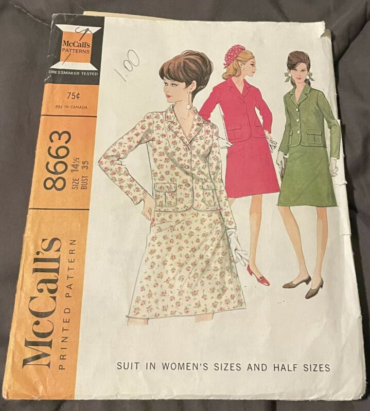 Vintage McCalls Sewing Pattern 8663 Size 14.5 1967 Uncut Factory Folded