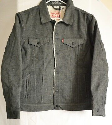 Levi's Men's Outerknown Sherpa Trucker Mineral Heather Jacket Size M NWT  Sherpa Heather