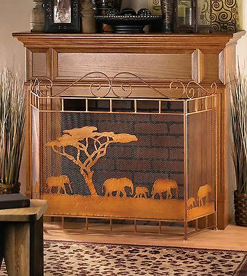 Bronze Colored Wild Savannah Themed Iron Folding Fireplace Screen