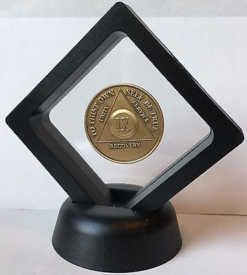 Black Diamond AA Medallion Display Sobriety Chip Challenge Coin Holder Stand