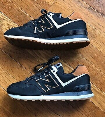 New Balance 574, Women's Tennis Shoes, Black Canvas With Tan Suede, Size 9