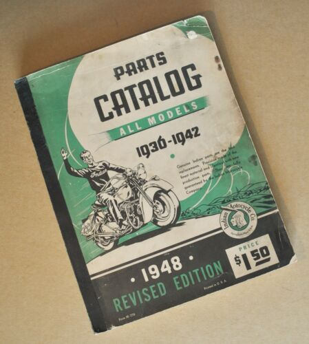 Original 1936-42 Indian Motorcycle Scout Chief Four Parts Catalog Manual Book