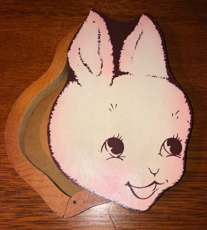Vintage Rare Wood Bunny Rabbit Easter Chocolate Box Hamiltons Candy Co. Tacoma