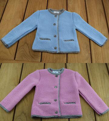 Kinder Dirndl Trachten Jacke  Gr 80-176 Strick Trachtenjacke Mädchen hellblau