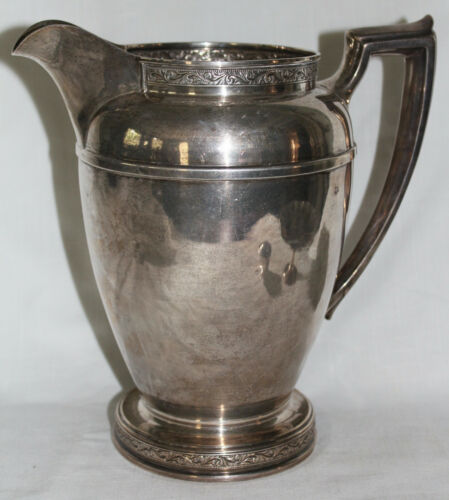 Large 1936 Reed & Barton Sterling Silver Water Pitcher w/ Repousse Top & Bottom