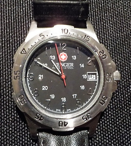 Wenger Swiss Army Watch, Black Leather Band