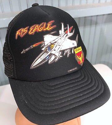 c52d6ced4087e Vintage F-15 Eagle Jet Fighter 80 s Snapback Baseball Cap Hat