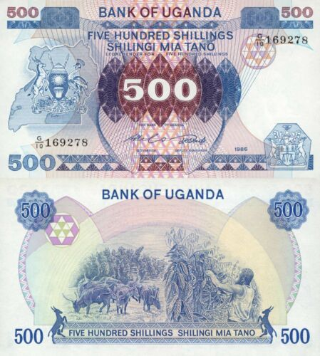Uganda 500 Shillings (1986) - Cattle/Coffee Harvest/p25 UNC