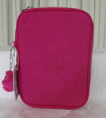 Kipling 100 Pens Pencil Cosmetic Case Very Berry Pink NWT