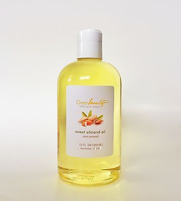 SWEET ALMOND OIL ORGANIC CARRIER COLD PRESSED REFINED NATURAL 100% PURE 12 OZ