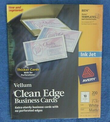 Avery 8874 Vellum Clean Edge White 200 Business Cards 2 X 3 12 New In Package