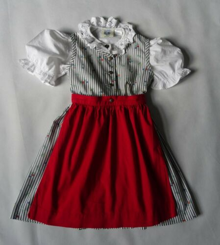 Girls Toddlers German Authentic 3 pc Dirndl  Dress Blouse Apron 3 yrs