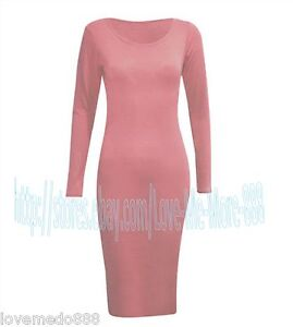 CASUAL  New Womens PLAIN BASIC stretch FITTED MIDI bodycon Dress Plus size S-2XL