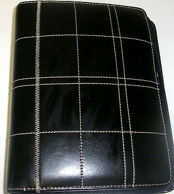Franklin Covey Leadership Classic Black Leather 7 Ring Binder Planner Organizer