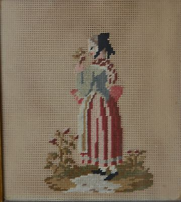 Antique 19th Century Old  Needlework Picture of a Period Woman Holding Flowers