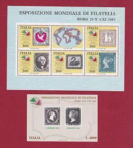 2-FOGLIETTI-ESPOSIZIONE-MONDIALE-DI-FILATELIA-1985