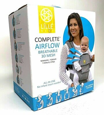 LILLE BABY 6-position Complete AIRFLOW Breathable 3D Mesh Carrier - Black / New!