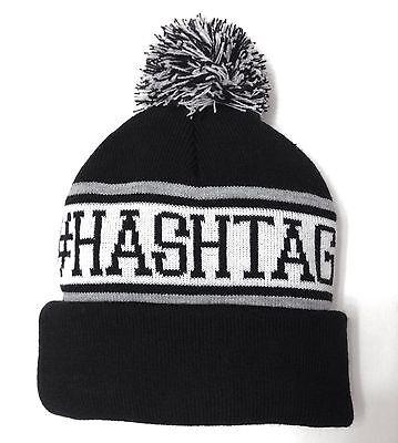 new #HASHTAG POM BEANIE Black Twitter Instagram Winter Knit Cap Hat Men/Women