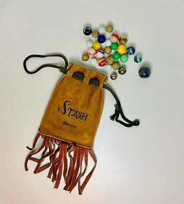 1940s Handbags and Purses History VINTAGE 1930'S-1940'S(?) 28 MARBLES WITH VTG LEATHER BAG with FRINGE $45.00 AT vintagedancer.com
