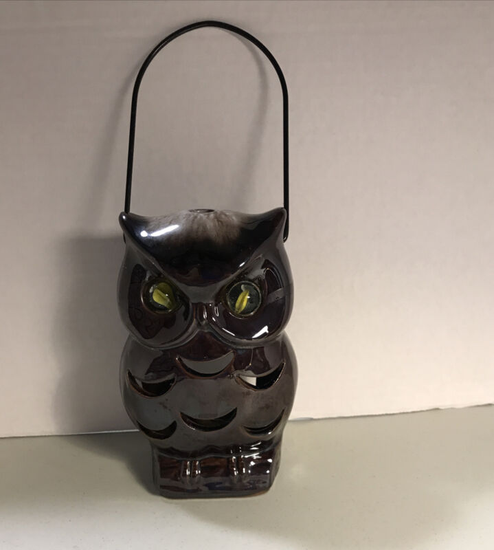 """Vintage Inarco Brown with Yellow Marble Eyes Ceramic Owl Votive Lantern 6½"""""""