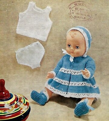 DOLLS CLOTHES TINY TEARS BABY ALIVE 16/22 INCH KNITTING PATTERN (1399)