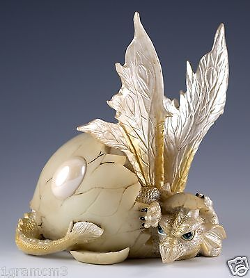 """White Baby Dragon Hatching From Egg Figurine Hatchling 5"""" Detailed Resin NIB"""